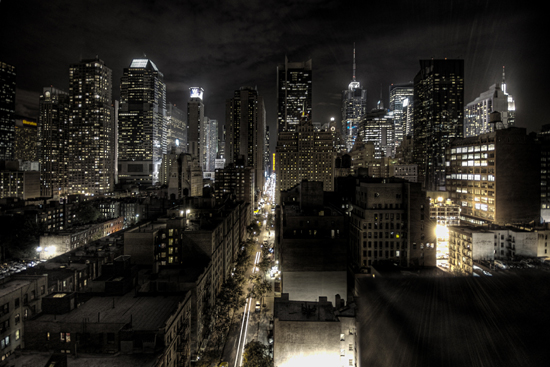 HDR image of New York City at night