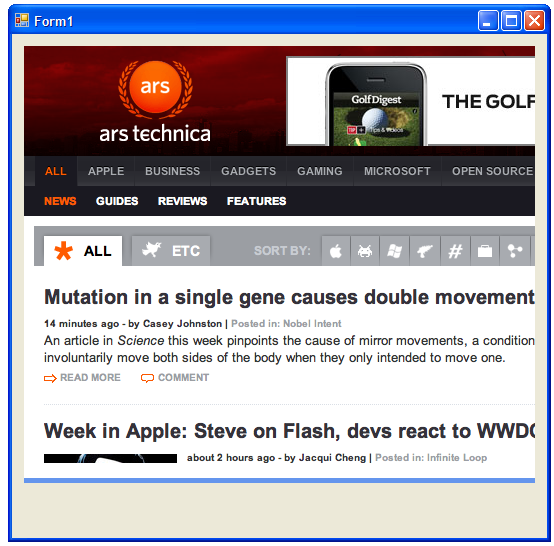 arstechnica.com loaded in a webkit container within a WinForms application