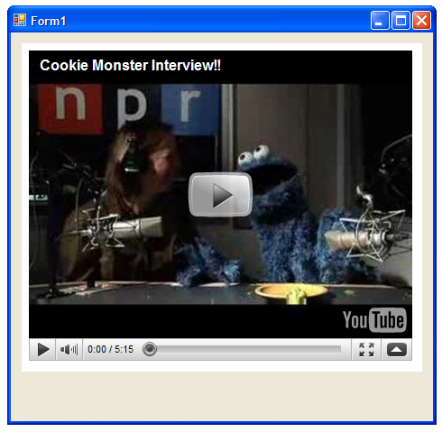 cookie monster npr interview, displayed in a webkit instance with a WinForms panel