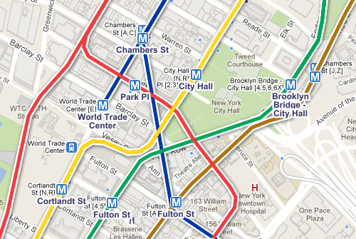 Google Maps, Transit Layer, Subway - NYC, City Hall