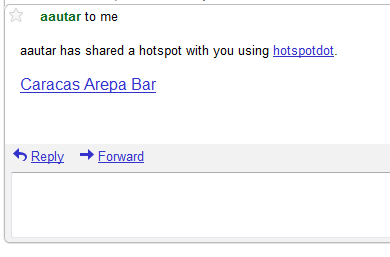 hotspot shared via. email, shown in gmail client