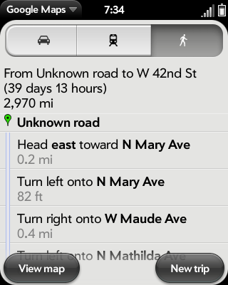 google directions on webOS